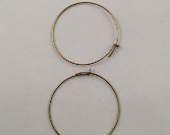 Earrings, Hoop Earrings, Round Hoop Earrings, Gold Plated Hoop Earrings, Antique Gold Plated Hoop Earrings, 25mm Hoop Earrings,