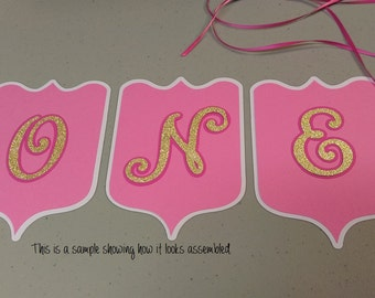 Age ONE Birthday Banner, High Chair Banner, Girls Pink ONE Banner, DIY Banner, High Chair Birthday Banner