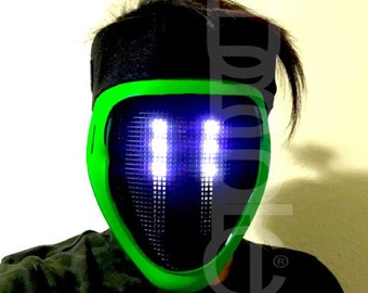 Cyber Ghost Mask Cyborg Glow in Dark Mask BOT LED Light UpRobot Mask - DJ Mask Rave Mask - Light Up Mask / Sound Reactive Mask Party Costume