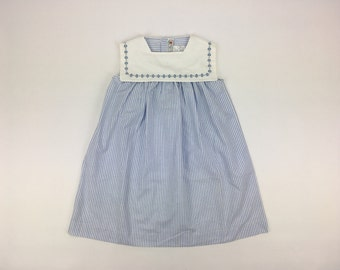 Classic French Blue Striped Sailor Girls Dress | Pom'Flore French Children's Clothing