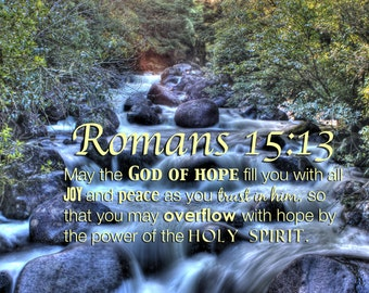 Romans 15:13  Wall Decal  Bible Verse Christian Scripture  Art Reusable