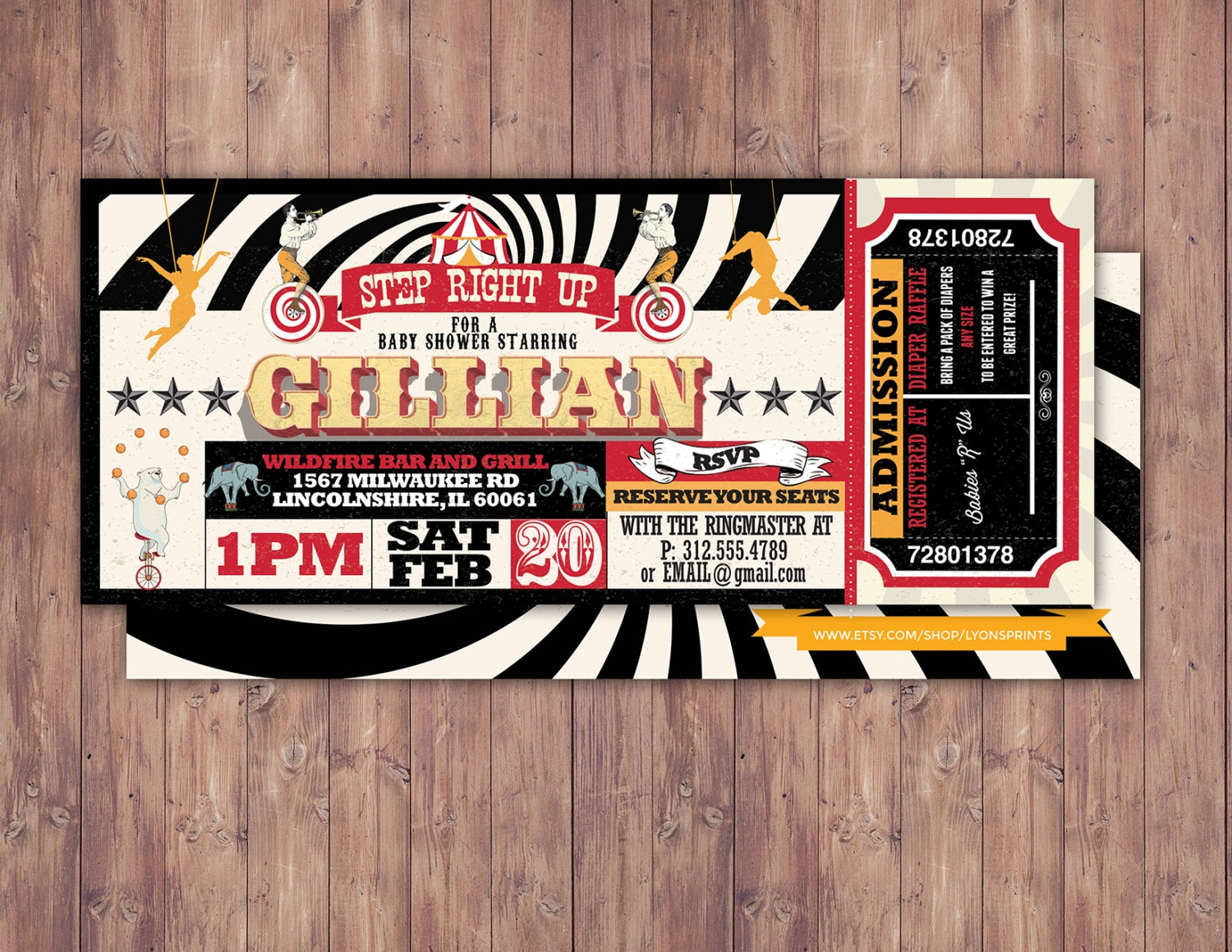 CIRCUS Baby Shower Invitation Carnival baby shower