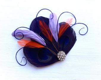 CICILY Dark Purple, Eggplant, Lavender, and Orange Peacock Feather Hair Clip, Feather Fascinator