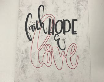 Faith, Hope and Love quote print