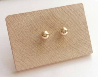 Large Solid 14k Yellow Gold Minimalist Ball Studs. Solid gold sphere studs. Contemporary 14K Yellow Gold stud earrings.