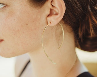 Curve, Hammered Brass Earrings