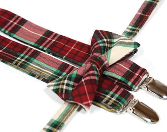 Christmas Bow Tie and Suspender Set,  red tartan plaid Suspenders, Christmas plaid suspenders for boys, toddlers, babies and men