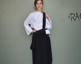 Loose Asymmetrical Black Skirt / Maxi Black Skirt / Extravagant Skirt