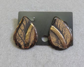Dramatic Black and Gold Porcelain Leaf Shaped Pierced Earrings