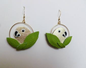 "Earrings Creole parakeets ""Plumille"""