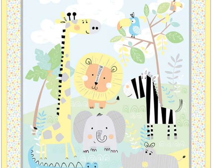 NEW JUNGLE JAMBOREE Children's Cotton Fabric Panel by Benartex 36 x 43 Inches