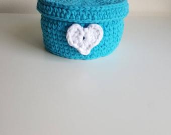 Crochet Blue Fabric Yarn Basket With Lid