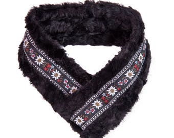 Black Faux Fur with Black Wildflower Trim