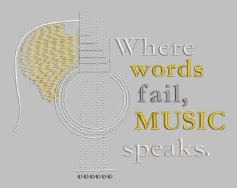 Guitar Where Words Fail Embroidery Design