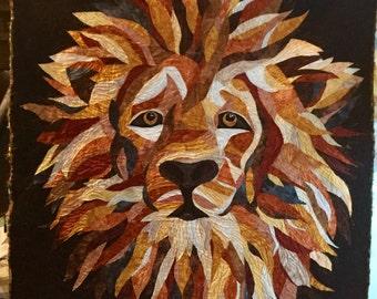 """Regal/Lion Art Quilt 48""""x48"""""""