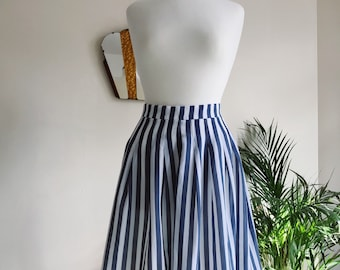 Blue and white stripe swing skirt - UK 10-12