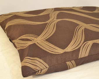 Medium (M) Washable Dog Bed - 100% Completely Washable Cover and Inserts (Brown Waves)