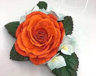 Floral hair clip Orange rose hair piece Flower hair accessory Bridesmaid hair flower clip Wedding headdress Festival headpiece