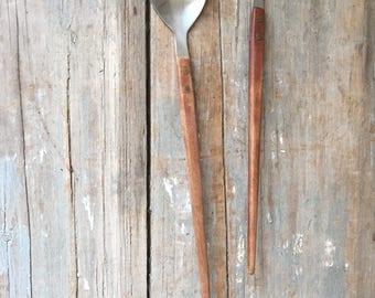 vintage  salad servers utensils