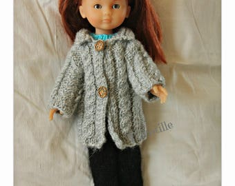 Gray coat with cables for the sweethearts doll