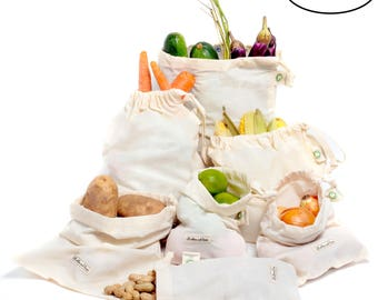 mothers day gift basket Reusable produce bags organic cotton Muslin produce bag set  Reusable bags vegetable drawstring bags  Eco bag