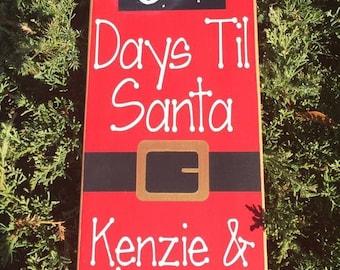 Days til Santa Sign, Countdown to Christmas Sign, Christmas Countdown, Chalkboard Vinyl Countdown, Holiday Decor, Personalized Christmas