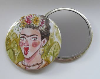 Illustrated Frida Kahlo Pocket Mirror/ Compact Mirror 76mm