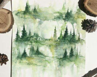 Lost in the Pines - Original Watercolor Painting