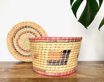 Vintage Basket | Colorful Woven Coiled Raffia Basket With Lid | Home Storage/Decor