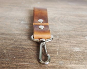 Tan leather key fob, personalised leather, swivel clip and hoop