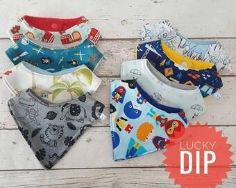 Boys selection of dribble bib, lucky dip, baby boy gift, baby shower, handmade baby item, UK