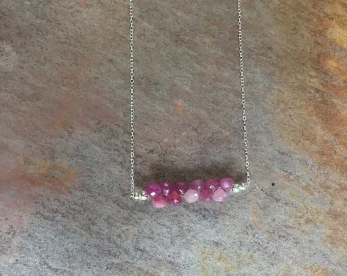 Adorable Pink Sapphire Bar Necklace