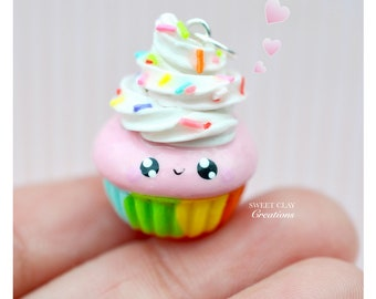 Rainbow Cupcake Kawaii Charm Pendant Necklace Polymer Clay Miniature Food Jewelry Handmade Gift Girl