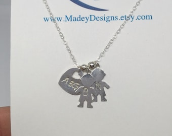 """The Upgrated """"Momma Brag"""" Necklace/925 Sterling Silver or 14K Gold Filled charms and chain/mom or mother necklace"""