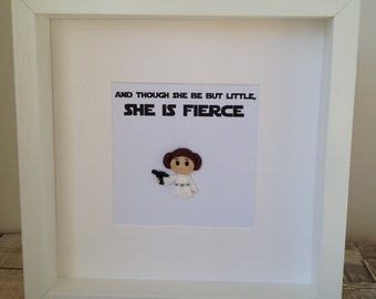 Pop Cult Space Princess Box Frame - Polymer Clay Chibi Figure Space Princess with Shakespeare Quote