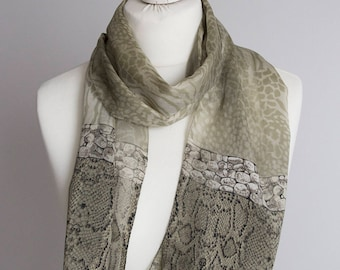 "vintage Long scarf, animal print polyester scarf, fabric women scarf shawl 32x153cm / 12x60"" snake sheer chiffon sage green gray"
