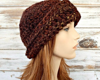 Crochet Hat Womens Hat 1920s Flapper Hat - Garbo Cloche Hat in Sequoia Brown Cloche Crochet Hat - Brown Hat Womens Accessories Winter Hat