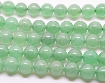 """15.5""""  Green  Aventurine  Smooth  Round Bead  Gemstone --8MM"""