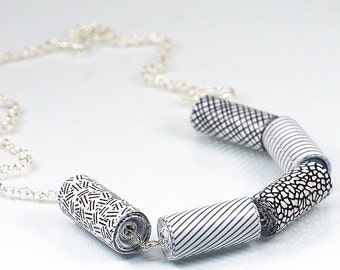 Contemporary Jewelry- Upcycled Black & White Security Envelope Paper Bead Necklace, Recycled Junk Mail, Paper Bead Jewelry by Tanith Rohe