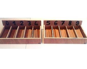 Box of Montessori spindles