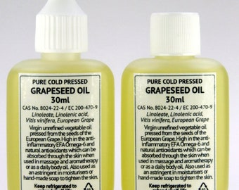 30ml Grapeseed Oil Pure Cold Pressed Massage Aromatherapy Omega-6 Body Oil