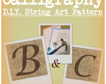 DIY Monogram String Art Pattern - Calligraphy B and C