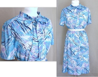 Vintage Slinky Blue Dress, Modern Size 18, Extra Large