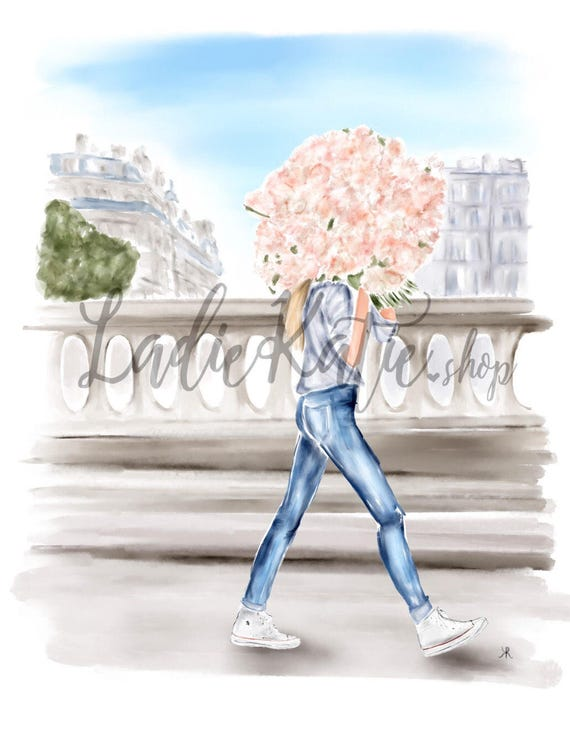 London watercolor, flower watercolor, london art, flower art, fashion art, gifts for her, fashion sketch, fashion lover, girly girl