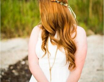 Peach Rose Bohemian Halo, Floral Crown, Flower Crown. Woodland, Wedding. spring, plum, teal, yellow, Hair Accessories, Bridesmaids