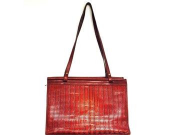 Vintage Woven Leather Tote Bag / Jack Georges