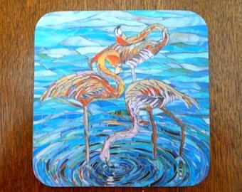 COASTER Flamingos Coaster - Flamingo Mosaic Art - Blue Coasters Pink Flamingo Art - Drinks Coaster - Bird Coaster - Turquoise Coaster Set