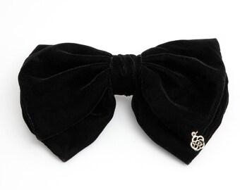 Handmade Silk Velvet Layered Black Bow French Hair Barrette