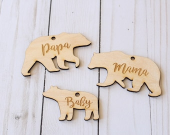 Mama Bear Ornament | Papa Bear Ornament | Baby Bear Ornament | Bear Ornaments | Free Shipping