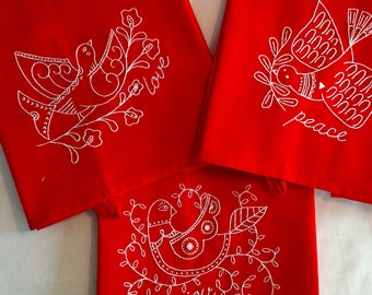 tea towel set/bird motifs/reverse redwork embroidery/set of 3/cotton 18 x 24 towel with hanging loop/hand stitched/great for Chiristmas/gift